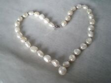 Baroque Cultured pearl necklace, 18 inches, in 2.3 grams of 925 Sterling Silver