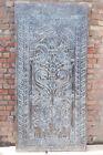 Blue Vintage Hand-Carved Floral Barn Door Front Door Sculpture Sliding Door 84