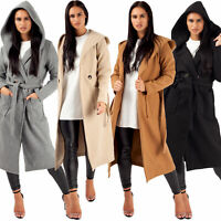 Women's Long Duster Jacket Waterfall Ladies Double Breasted Belted Trench Coat