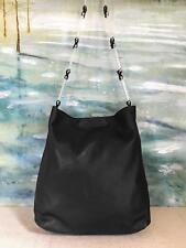 $765 PRADA Black Leather Nappa Shoulder Bag Lucite Hobo Handle Canvas Women's