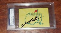 SANG-MOON BAE Signed Auto MASTERS Golf Flag 3x5 Photo + PSA DNA SLABBED authent