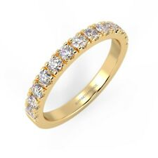 F/VS 0.75 Carat Round Diamond Half Eternity Ring, UK Hallmarked 18k Yellow Gold