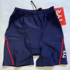 """TYR Mens Small Red White Blue Shorts 7"""" Triathlon Exercise Bike Pad USA Made New"""
