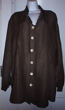 Paper Lace Boho XXL 60% Linen 40% Tinsel  brown tunic ruffled  front pleated top
