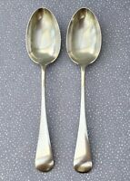 W HUTTON LARGE TABLE SPOONS x2 - SILVER PLATE ANTIQUE CUTLERY SHEFFIELD