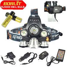 Hunting BORUiT 13000LM 3*XM-L T6 Headlamp Head Light Torch+2*18650+EU Charger