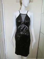 CLUB L - BLACK SEQUINED, NET BUST  MINI DRESS SIZE 12 - 100%POLYESTER