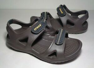 Crocs Size 7 SWIFTWATER RIVER Brown Black Sport Sandals New Women's Shoes