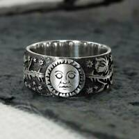 Cool 925 Silver Carved Sun Moon Rose Magic Ring Celestial Wedding Ring # 6-10