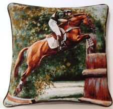 Horses- Equestrian Competition Jumping Hurdles Caroline Cook Tapestry Pillow New