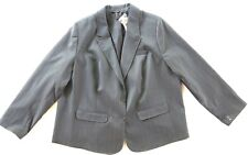 Lane Bryant Grey Striped Polyester Stretch Suit Blazer Jacket 24 NWT MSRP $79