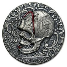 CARVED SKULL of St.Aloysius Gonzaga 1oz Ultra High Relief Silver Coin 2018
