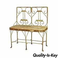 Antique Shabby French Rustic Chic Miniature Iron Garden Bench Plant Holder Stand
