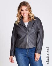 STUDIO EAST Autograph coat jacket long sleeve + Zip pockets size 24 faux leather