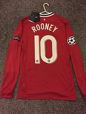 MANCHESTER UNITED 11/12 HOME CHAMPION LEAGUE SHIRT LONG SLEEVES NEW(S) 10 ROONEY