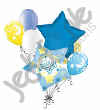 7 pc It's a Baby Boy Stars & Moon Balloon Bouquet Party Decoration Welcome