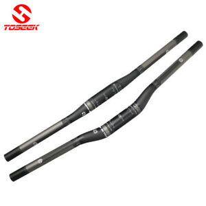 TOSEEK 3K Carbon Fiber MTB Mountain Bike Flat Riser Bar Handlebar 31.8*600-760mm