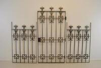 Three Piece Wrought Iron Decorative Gate Side Panels Silvered Finish