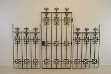Three Piece Wrought Iron Decorative Gate Side Panels Silvered Finish