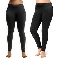 Black Leggings Plus One Size Fit Seamless Fleece Yoga Pants Stretchy Women
