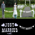 """""""JUST MARRIED"""" Wedding Banner Party Decoration Bunting Garland Photo Booth Prop"""