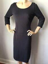 NWT St John Knit dress size 12 dark gray raven 3/4 length sleeve