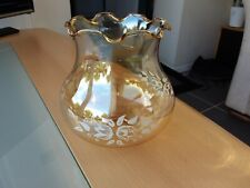 Retro Amber Tinted Floral Design Glass Lampshade
