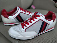 Gucci 83 Tennis White Leather Mens Sneakers Shoes Web Stripe Trainers 256649 Red