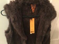 Tory Burch Brown Hooded Rabbit Knit Fur Vest. NWT