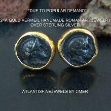 Sterling Silver Stud Coin Earrings 24k Yellow Gold Vermeil Designer Roman Art
