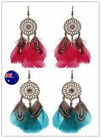 Lady Women Retro Feather Boho dream catcher Party Long dangle Ear Drop Earrings