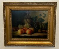 Antique French Gold Framed Oil on Board Wood Panel Still Life Fruit Painting