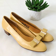 Salvatore Ferragamo Yellow Shoes Womens Size 7.5 8 AAA Italy Bow Heels Vintage
