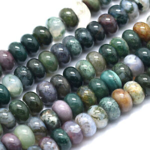 2 Strd Natural Indian Agate Rondelle Beads Smooth Gemstone Loose Spacer 8x5mm