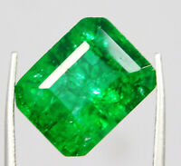 Natural Certified 11 Ct Green Color Zambian Emerald Loose Gemstone