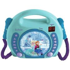 DISNEY FROZEN CD PLAYER WITH MICROPHONES CHILDRENS PORTABLE TURQUOISE BLUE