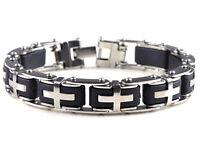 Herren Armband Edelstahl Quer Silber / Schwarz Armreif  Silikon Armkette Schmuck