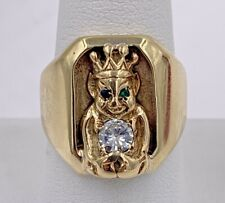 14K Yellow Gold Monkey .35tcw Diamond, Emerald, And Sapphire Ring Size 8