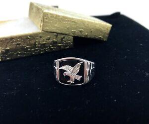 Men's Black Onyx Eagle Ring in .925 Silver #10, Anillo Para Hombre Con Aguila