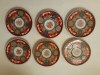 """Imari Japan 4 3/4"""" Gold Rim Plate hand Painted great condition set of six plates"""