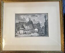 Franz Edmund Weirotter-Austrian 1733-1771-Original framed etching Village scene