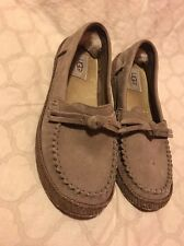 UGG Australia Kids Ariana Slip On Shoes Gray/brown/beige USA 5.5M With Bow(box)