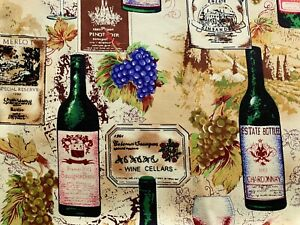 """Vineyard Wine Novelty Print 100% Cotton 7 OZ Twill 57"""" Wide Fabric by the Yard"""