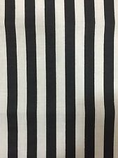 """Black White Half Inch Striped Poly Cotton Fabric - Sold By The Yard - 58"""" / 59"""""""