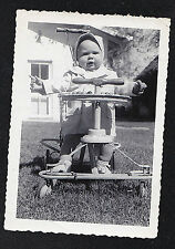 Vintage Antique Photograph Adorable Little Baby in Walker / Bicycle in Yard
