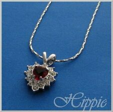 18k RGP Made With Swarovski Ruby  Heart Crystal Necklace