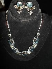 Statement Necklace Set Rhinestone Crystal Vintage Antique Dressy Earrings Clipon