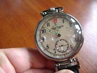 IWC SCHAFFHAUSEN wristwatch converted from pocket watch movement 18 jew.