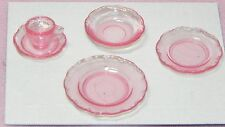 Dollhouse Miniature Dishes and Coffee Cup Set Pink Chrysnbon 1:12 Scale