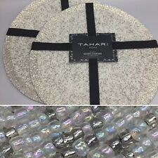 4 Tahari Silver Iridescent Beaded Placemat Set Luxury Holiday Christmas Designer